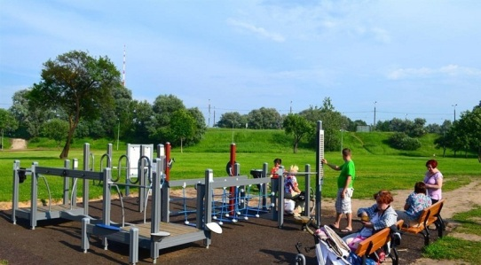 Activities for all ages at Lucavsala park in Riga, Latvia